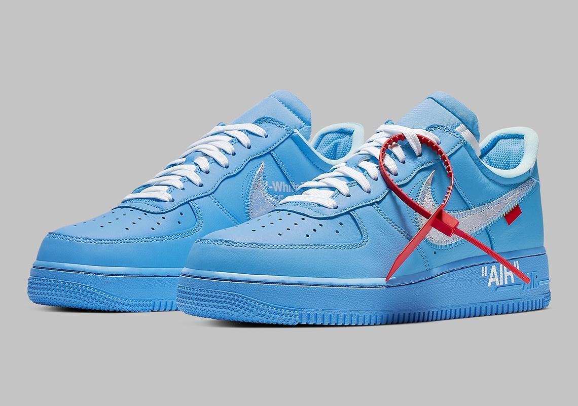 nike air force one off white bleu